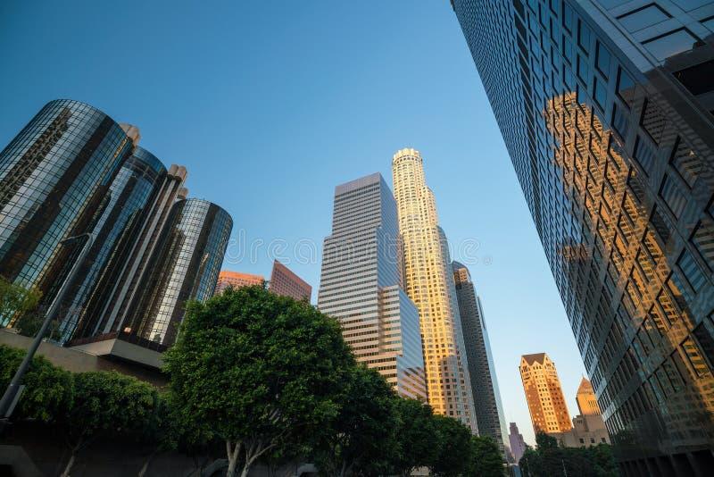 Paisaje urbano céntrico California del horizonte de Los Ángeles del LA fotografía de archivo libre de regalías