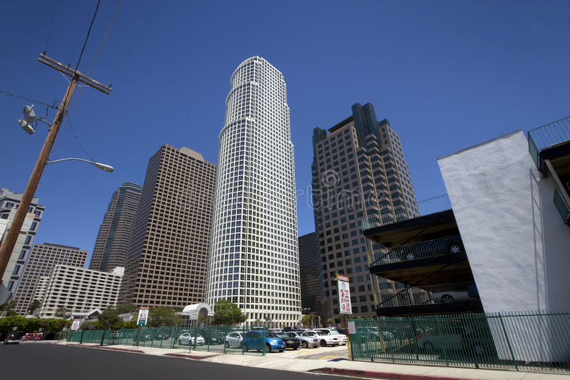 Paisaje urbano céntrico de los edificios de Los Ángeles imagen de archivo