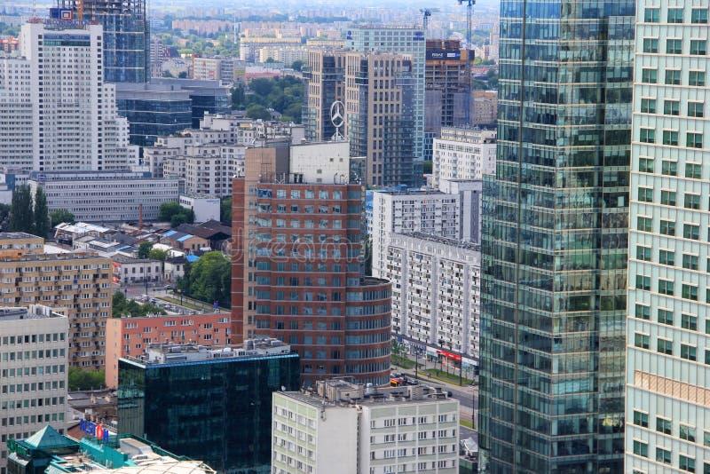Paisaje urbano céntrico de Varsovia, Polonia imágenes de archivo libres de regalías
