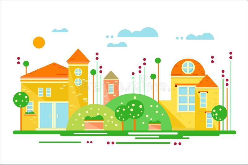 Paisaje urbano, calle con los edificios y ejemplo del vector de los árboles en estilo plano ilustración del vector