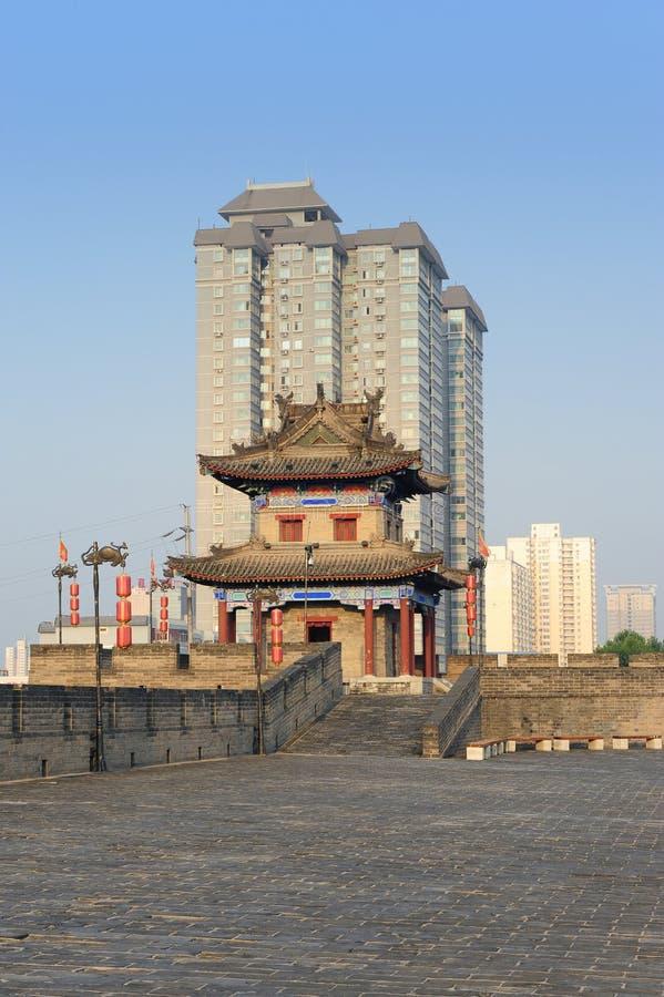 Paisaje urbano cambiante de China (ciudad de Xian) imagen de archivo libre de regalías