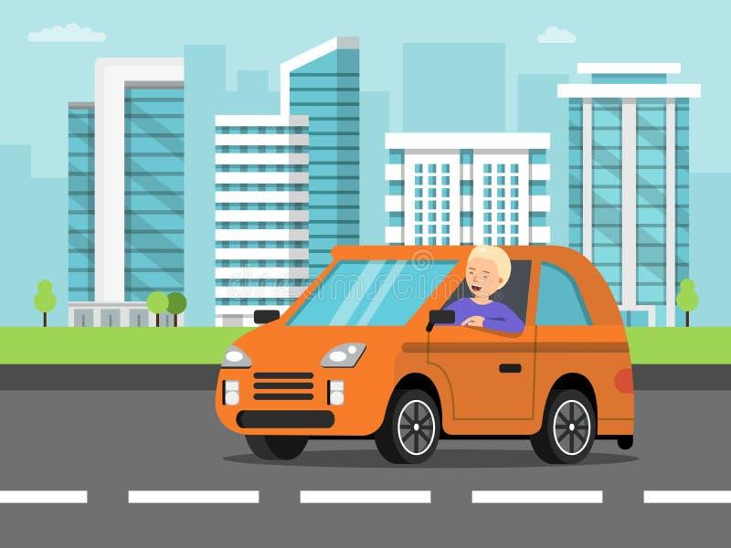 Paisaje urbano con el coche y el conductor stock de ilustración