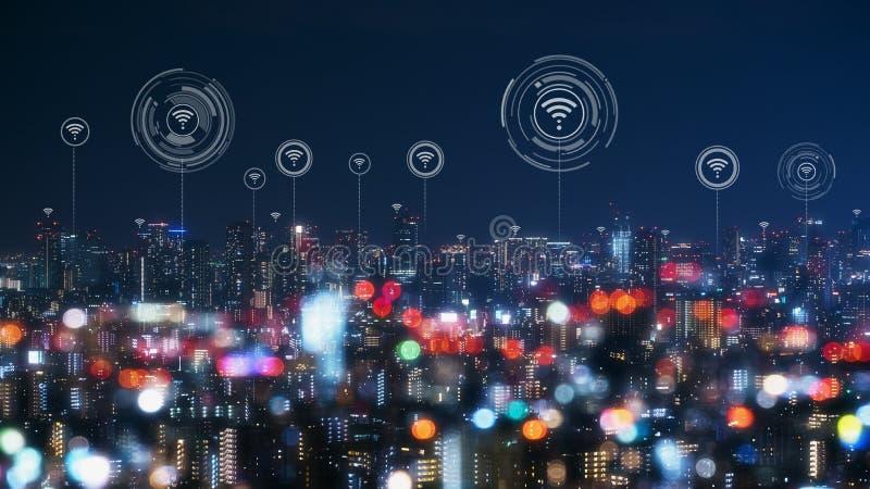 Paisaje urbano con la tecnolog?a de conexi?n del punto de la ciudad elegante conceptual fotos de archivo libres de regalías