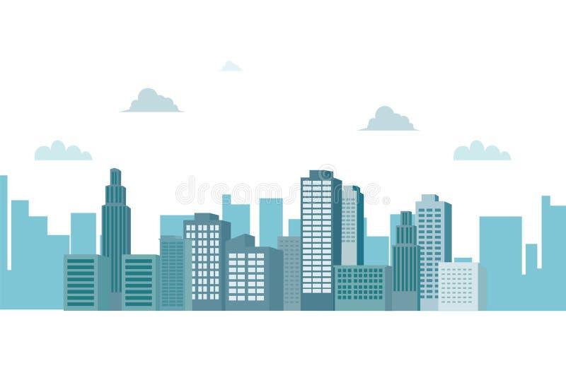 Paisaje urbano con las nubes y el ejemplo blanco aislado cielo del vector del fondo Fondo del edificio de la silueta libre illustration