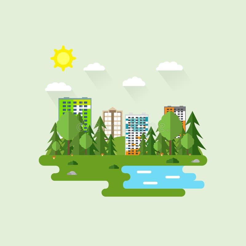 Paisaje urbano con muchos raspadores del cielo en verano en el área del parque Ejemplo del vector en estilo plano moderno Edifici ilustración del vector