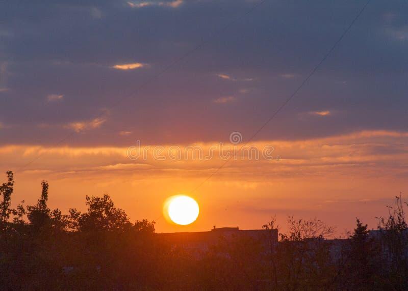 Paisaje urbano con puesta del sol y las sombras de los árboles Luz del sol a través de las nubes amarillas y azules imágenes de archivo libres de regalías