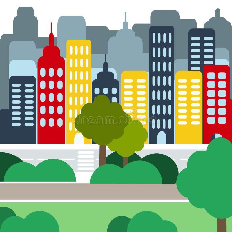 Download Paisaje Urbano Con Skyscarpers Y Parques En El D3ia Ilustración del Vector - Ilustración de divisor, ocupado: 64213083