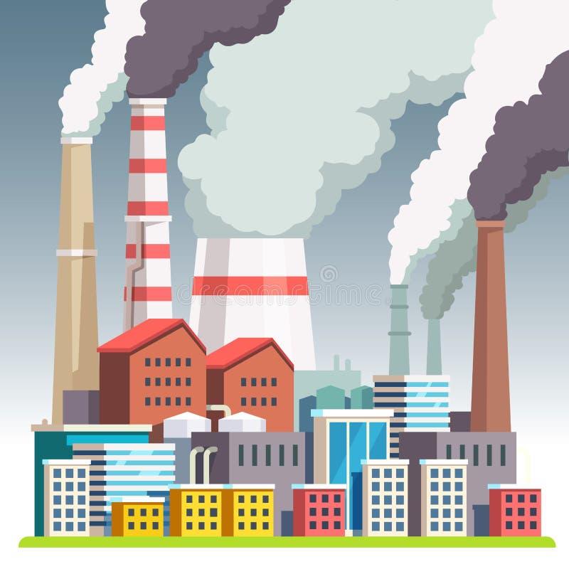 Paisaje urbano contaminado niebla con humo ilustración del vector