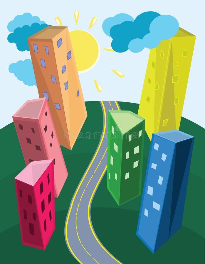 Paisaje urbano contemporáneo libre illustration