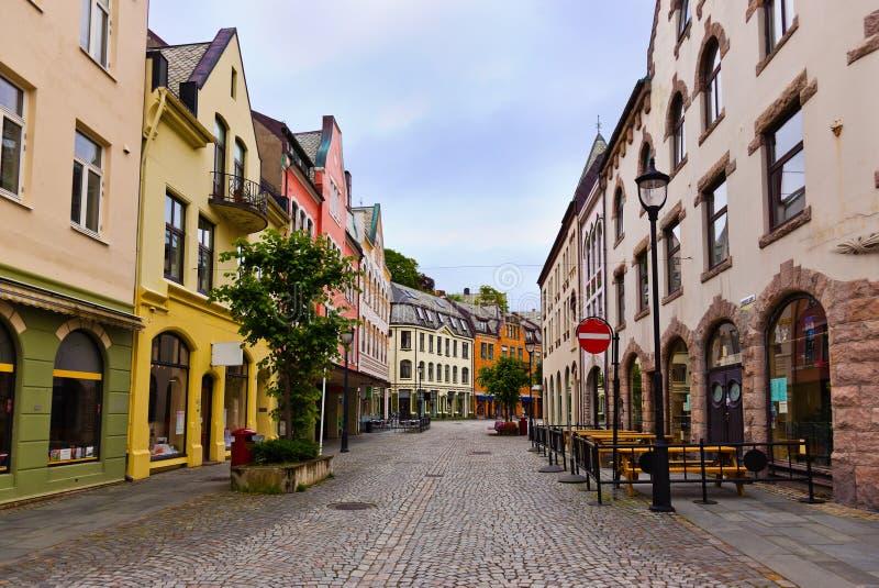 Paisaje urbano de Alesund Noruega foto de archivo libre de regalías