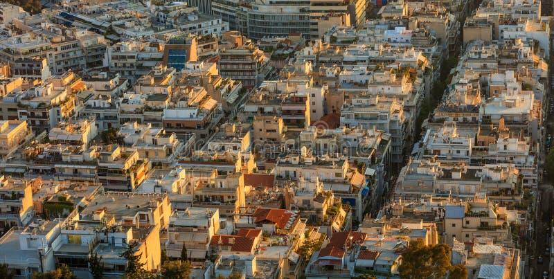 Paisaje urbano de Atenas, Grecia de la colina de Lycabettus imágenes de archivo libres de regalías