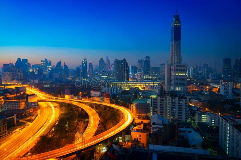 Paisaje urbano de Bangkok en la mañana imágenes de archivo libres de regalías