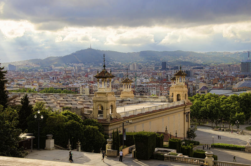 Paisaje urbano de Barcelona imagen de archivo