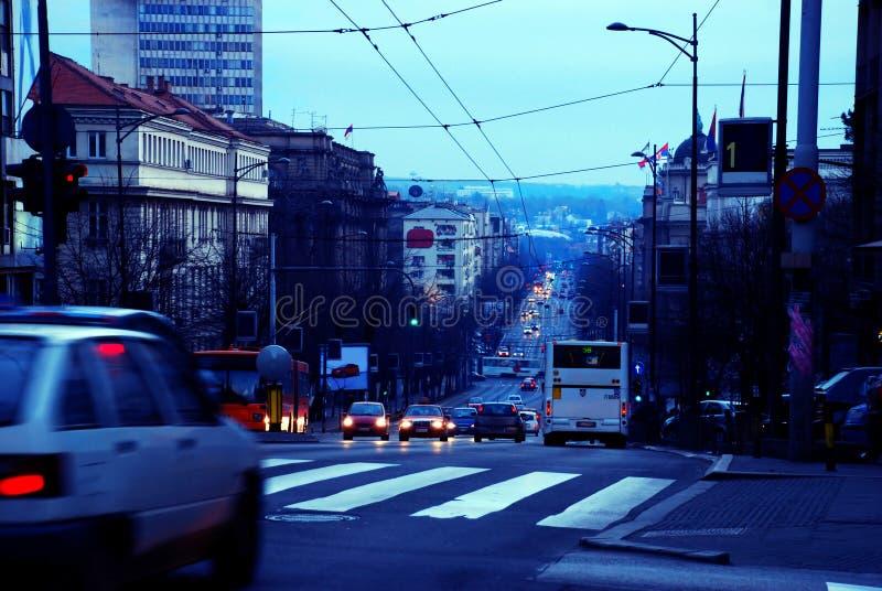 Paisaje urbano de Belgrado de la tarde imágenes de archivo libres de regalías