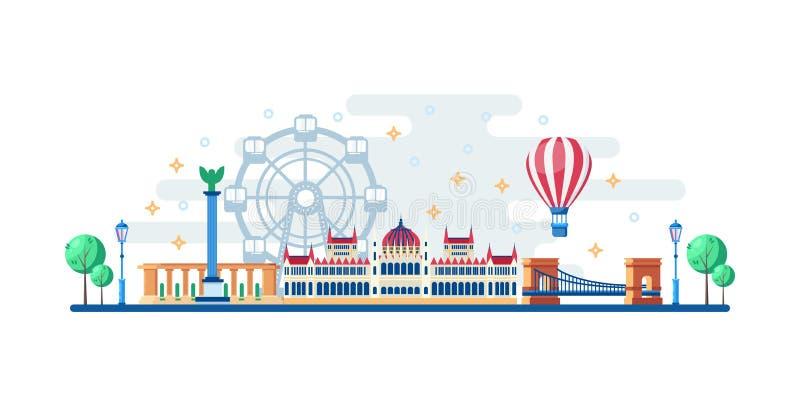 Paisaje urbano de Budapest con las señales turísticas famosas Ejemplo plano del vector Viaje al diseño horizontal de la bandera d ilustración del vector