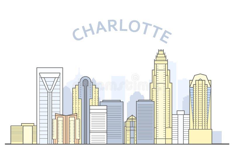 Paisaje urbano de Charlotte, Carolina del Norte - panorama de Charlotte, horizonte de la ciudad ilustración del vector