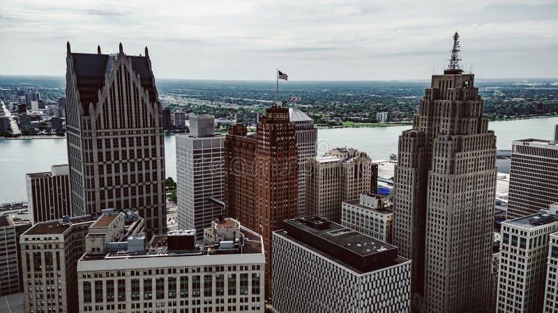 Paisaje urbano de Detroit imagenes de archivo