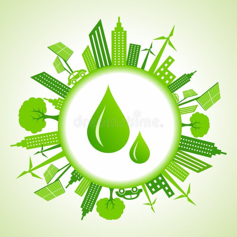 Paisaje urbano de Eco alrededor de descensos del agua ilustración del vector