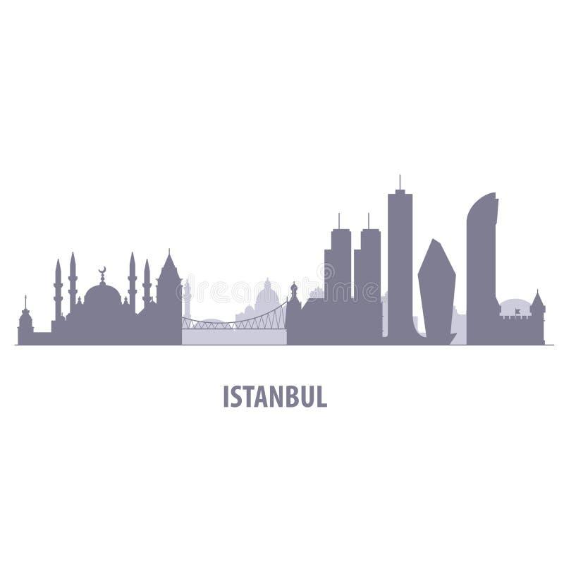 Paisaje urbano de Estambul - silueta del horizonte de Estambul stock de ilustración