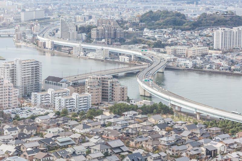 Paisaje urbano de Fukuoka en Japón foto de archivo