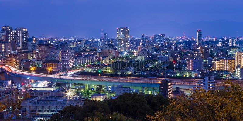 Paisaje urbano de Fukuoka en Kyushu del norte, Japón imágenes de archivo libres de regalías
