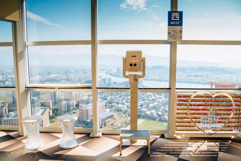 Paisaje urbano de Fukuoka de la torre de Fukuoka en Japón imagen de archivo