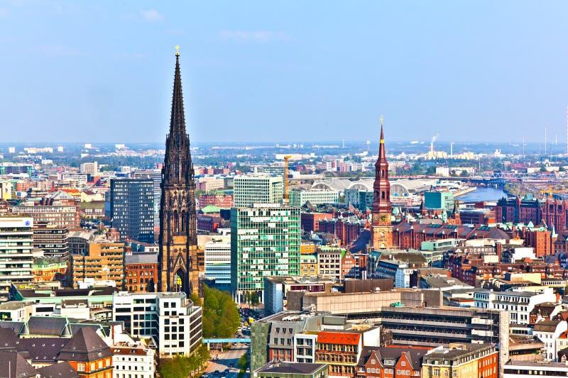 Paisaje urbano de Hamburgo de foto de archivo