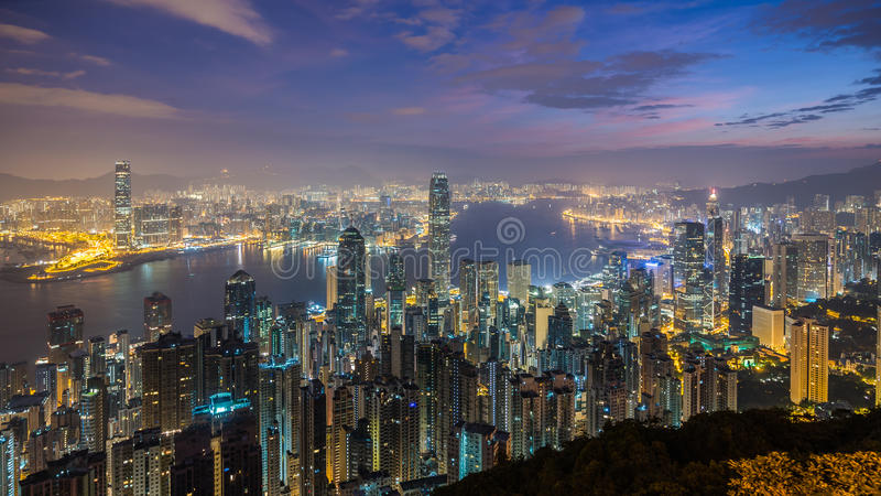 Paisaje urbano de Hong-Kong fotografía de archivo libre de regalías