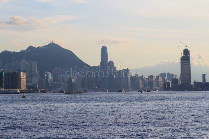 Paisaje urbano de Hong Kong, puerto de Victoria fotos de archivo libres de regalías