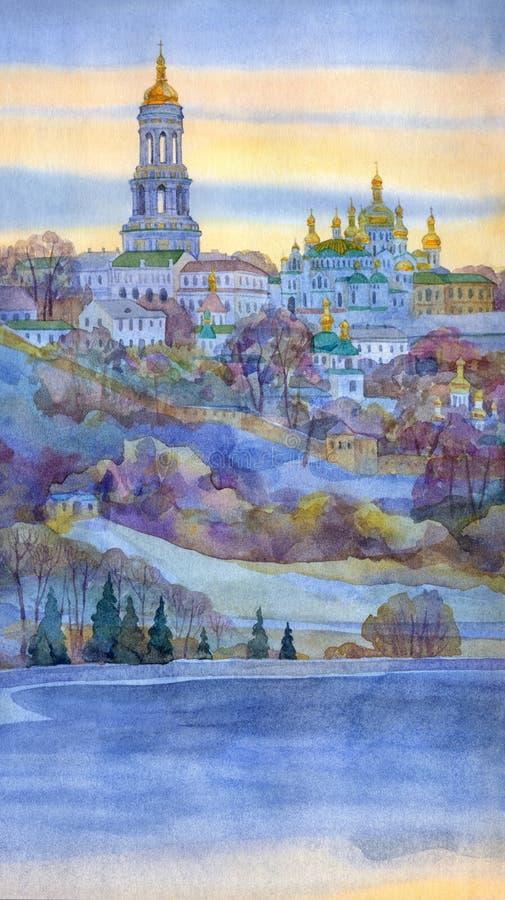 Paisaje urbano de la acuarela Monasterio en el banco escarpado del río libre illustration