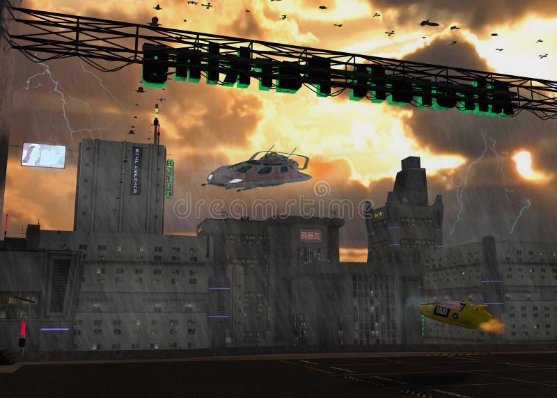 Paisaje urbano de la ciencia ficción imágenes de archivo libres de regalías