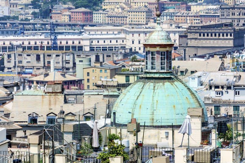 Paisaje urbano de la ciudad de Génova, Italia imágenes de archivo libres de regalías