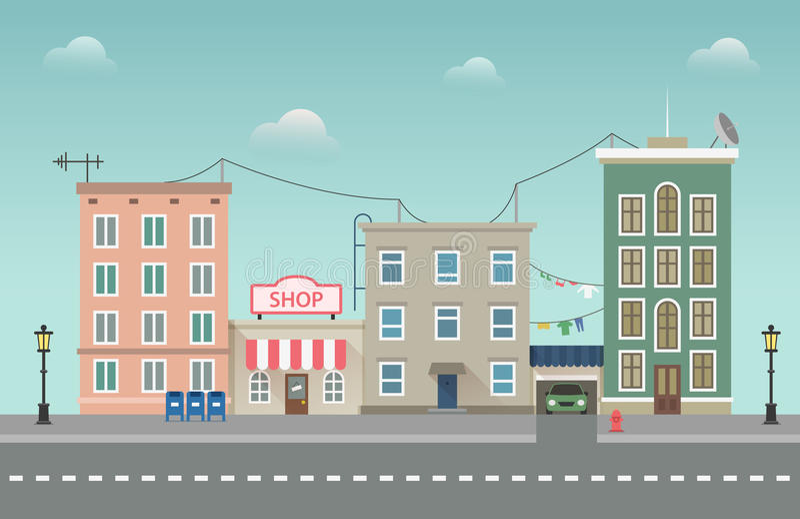 Paisaje urbano de la ciudad del día Ejemplo del vector de la pequeña ciudad en estilo plano libre illustration