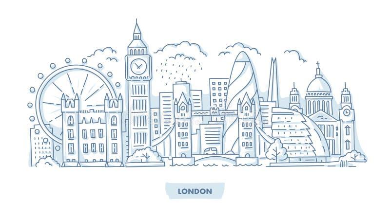 Paisaje urbano de la ciudad de Londres ilustración del vector