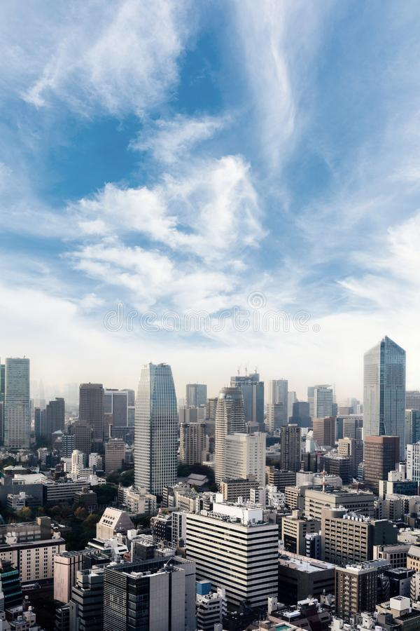 Paisaje urbano de la ciudad de Tokio, Jap?n Opini?n a?rea del rascacielos del edificio de oficinas y del centro de la ciudad de T fotografía de archivo