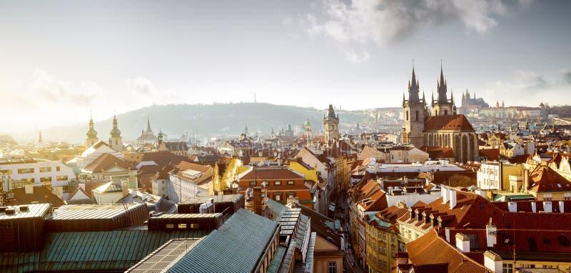Paisaje urbano de la ciudad vieja en Praga, República Checa fotos de archivo libres de regalías
