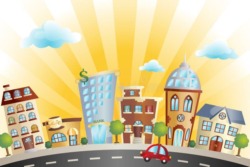 Paisaje urbano de la historieta stock de ilustración