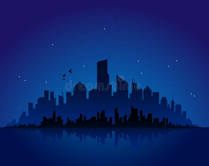 Paisaje urbano de la noche stock de ilustración