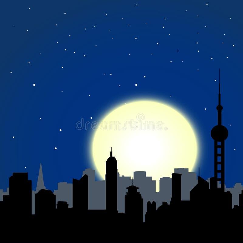 Paisaje urbano de la noche ilustración del vector