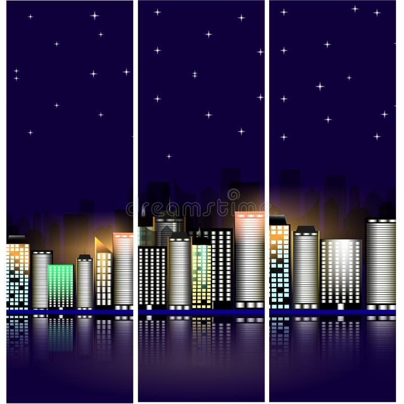 Paisaje urbano de la noche con las estrellas Edificios modernos con la iluminación brillante bandera fotos de archivo libres de regalías