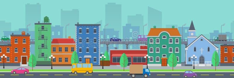 Paisaje urbano de la pantalla ancha en estilo plano stock de ilustración