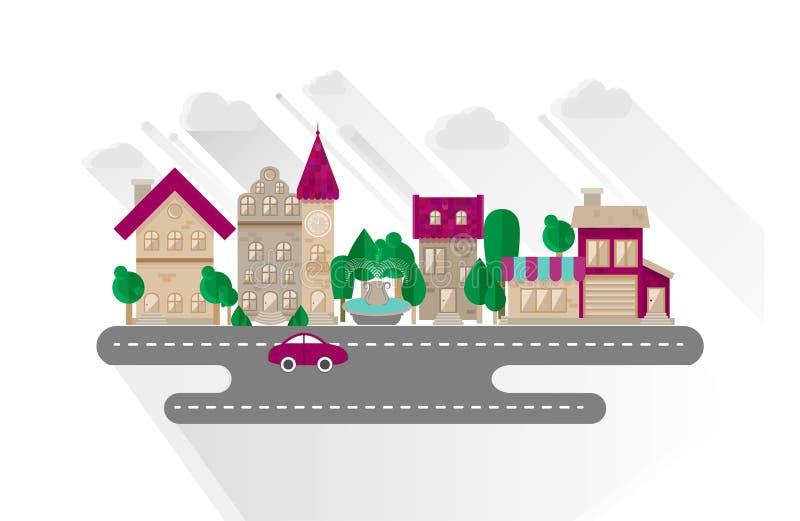 Paisaje urbano de la pequeña ciudad en estilo plano del diseño ilustración del vector