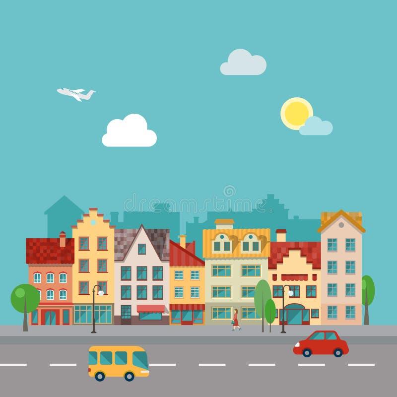 Paisaje urbano de la pequeña ciudad en estilo plano del diseño Ejemplo de una calle, hecho adentro ilustración del vector
