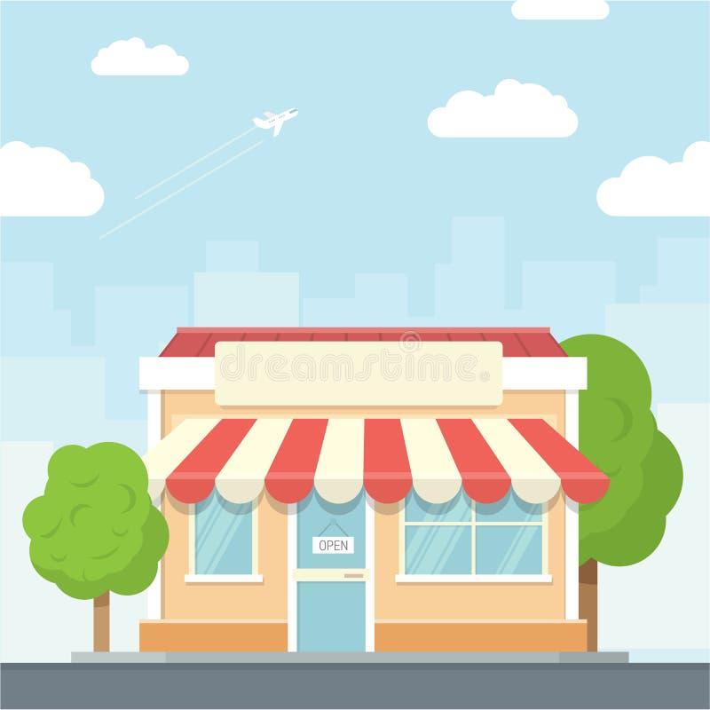 Paisaje urbano de la pequeña tienda en el estilo plano del diseño, ejemplo del vector Incluye el negocio, edificios, árboles, cal imagen de archivo