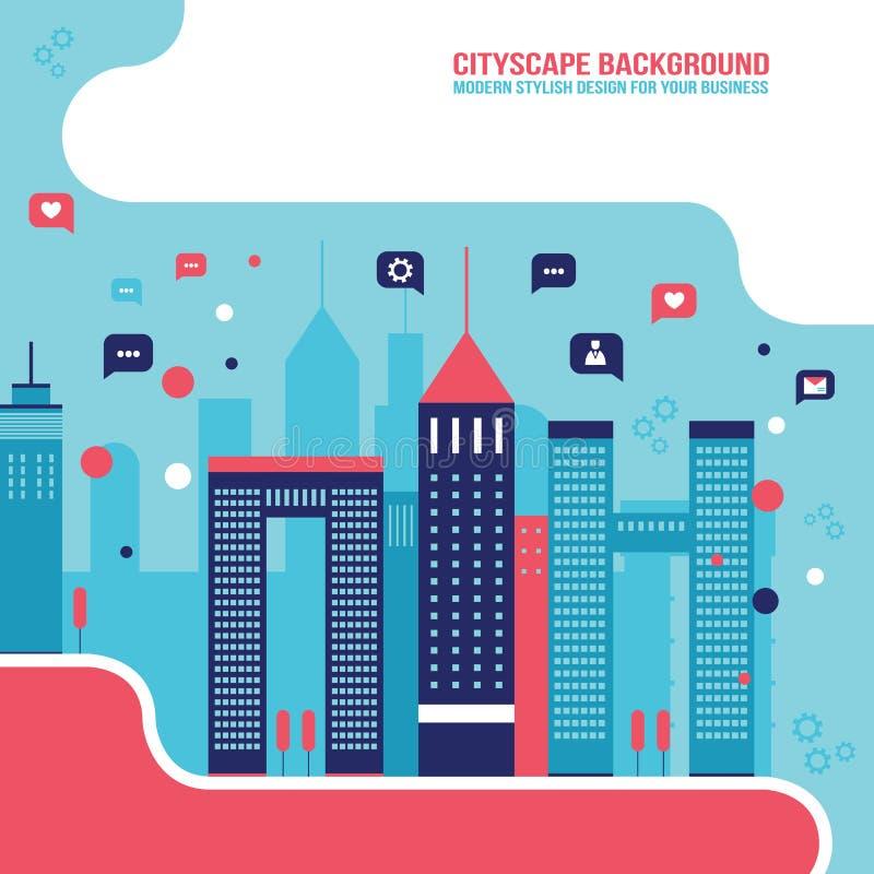 Paisaje urbano de la red social de la ciudad llenado de los elementos infographic del concepto de la comunicación de los iconos d stock de ilustración