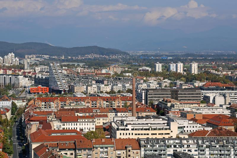 Paisaje urbano de Ljubljana imagen de archivo libre de regalías