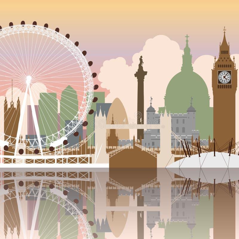 Paisaje urbano de Londres ilustración del vector