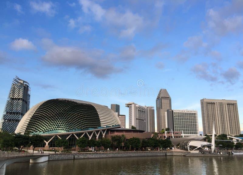 Paisaje urbano de Marina Bay en Singapur fotografía de archivo libre de regalías