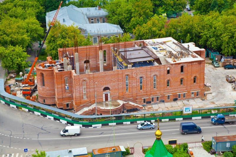 Paisaje urbano de Moscú construcción de un templo Perspectiva de Michurinsky imágenes de archivo libres de regalías
