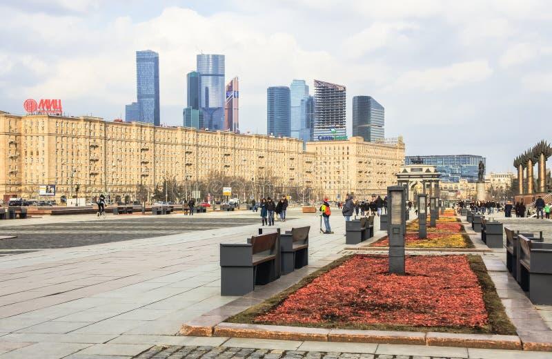 Paisaje urbano de Moscú Visión desde la colina de Poklonnaya en dirección de la avenida de Kutuzovsky imágenes de archivo libres de regalías